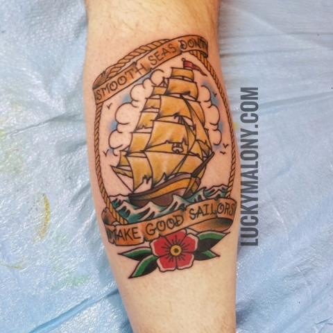 115c7aa2282a8 Traditional Hula Girl Tattoo by Lucky Malony · American Traditional clipper  ship tattoo by Lucky Malony. American Traditional clipper ship tattoo by  Lucky ...