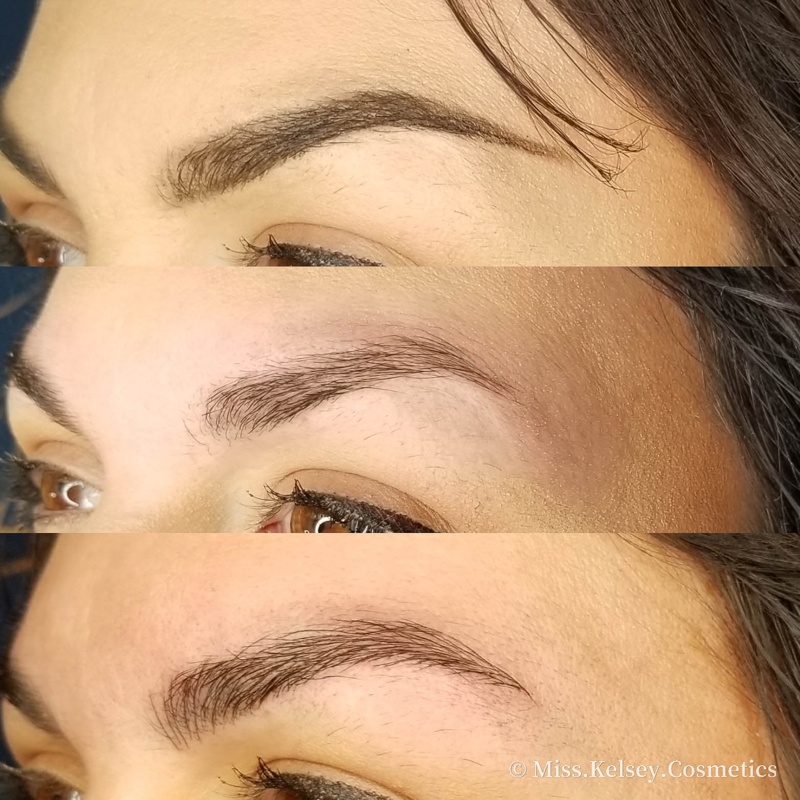 Microblading Before on Top, Before without makeup mid, After on Bottom